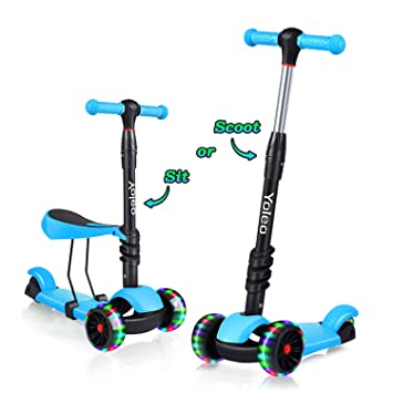 YOLEO 3-in-1 Kinder Roller Scooter mit Abnehmbarem Sitz, LED große Räder, Höheverstellbare Lenker für Kleinkinder Jungen Mädc