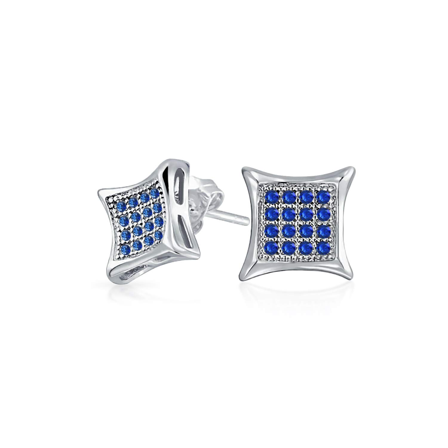 a0b61e9d1 Amazon.com: Mens Womens Square Shaped Cubic Zirconia Micro Pave Blue  Simulated Sapphire Kite Stud Earrings 925 Sterling Silver 7MM: Jewelry