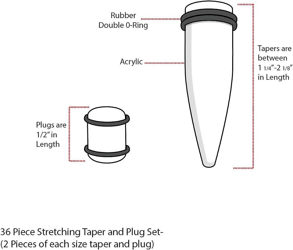 BodyJ4You 36PC Gauges Kit Ear Stretching 14G-00G Multicolor Splatter Acrylic Taper Plug Piercing