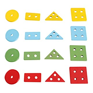 Toyvian Set di Treni in Legno con Giocattolo Chunky Puzzle Stack And Sort