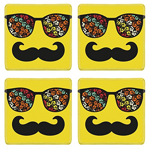 Luxlady Natural Rubber Square Coasters IMAGE ID: 26796179 Retro sunglasses with reflection for hipster Vector illustration of accessory eyeglasses isolated Best print for your t - Sunglasses Free Vector