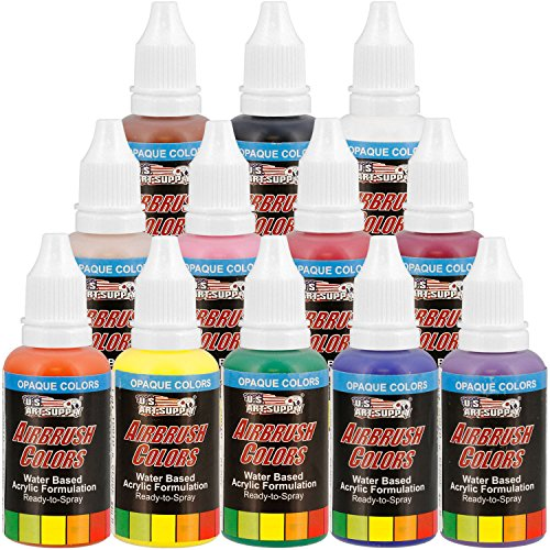 U.S. Art Supply 36 Color Deluxe Acrylic Airbrush, Leather & Shoe Paint Set with Cleaner, Thinner, 50-Plastic Mixing Cups, 50-Wooden Mix Sticks and Color Mixing Wheel by US Art Supply (Image #3)