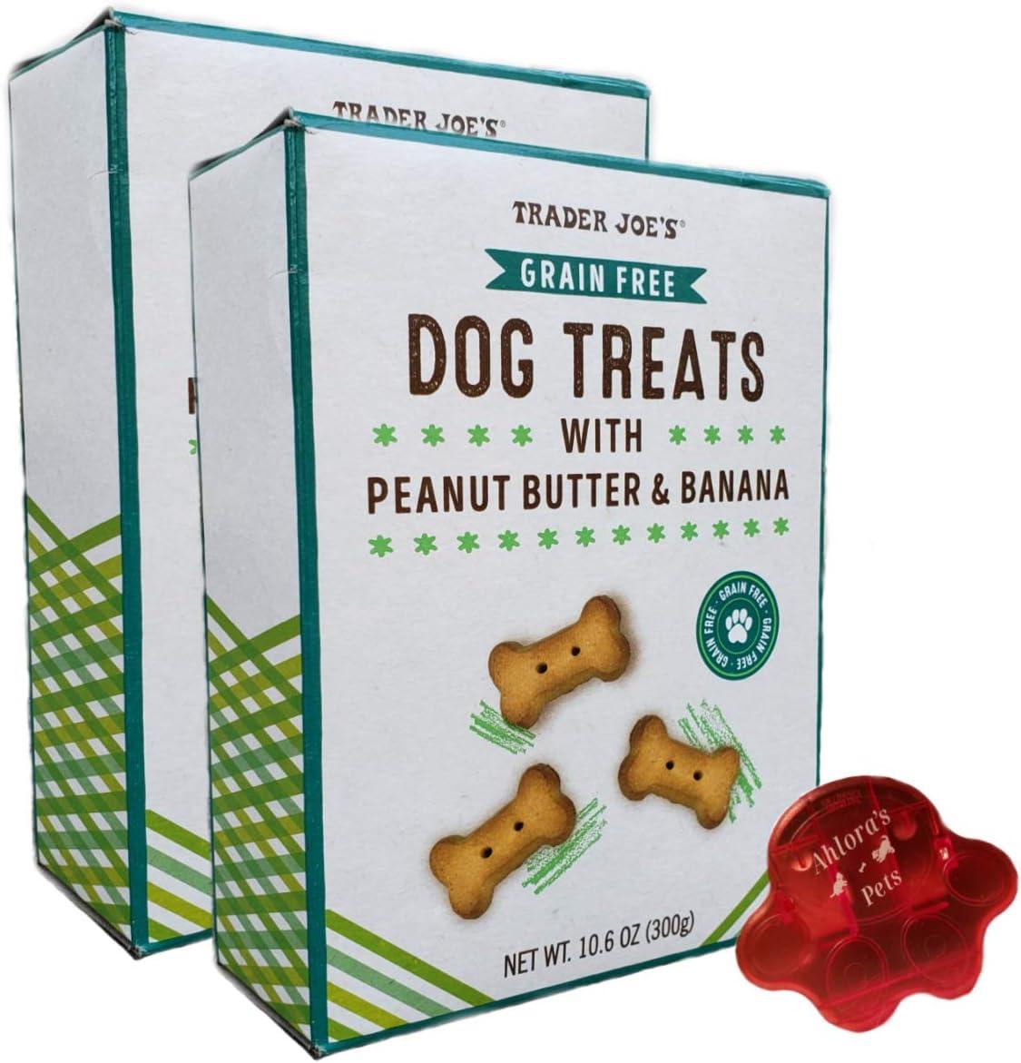 Ahlora's Pets Grain Free Dog Treat Bundle- Dog Treats with Peanut Butter & Banana by Trader Joe's - Bundled with Bag Clip Natural & Healthy Dog Snacks