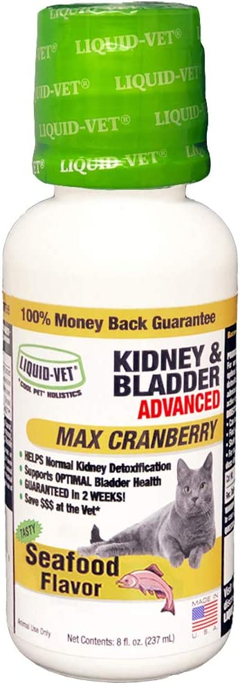 Liquid-Vet Advanced Kidney & Bladder Supplements for Cats with Cranberry + D-Mannose | Cat Kidney Support | Cat Urinary Tract Health