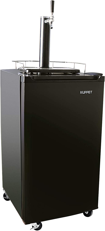 KUPPET Kegerator& Draft Beer Dispenser, Beer Kegerator, Keg Beer Cooler for Party, Compressor Cooling CO2 Regulator Casters, Single-Tap, 3.4 Cu.ft.(Black)