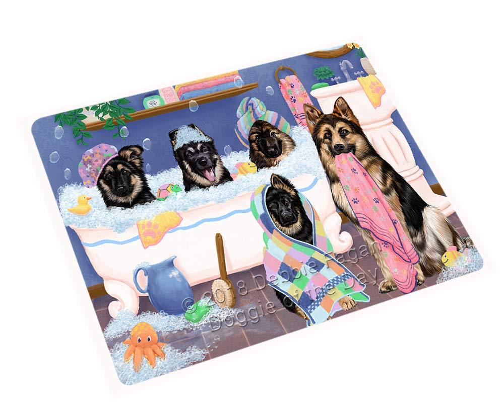 Rub A Dub Dogs in A Tub German Shepherds Dog Blanket BLNKT130521 (50x60 Sherpa)