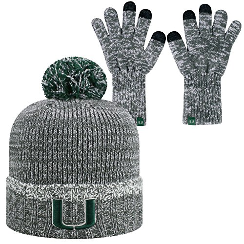 (Top of the World Miami Hurricanes Official NCAA Combo Frostbite Cuffed Stocking Stretch Knit Sock Hat Cap Beanie and Gloves 559490)