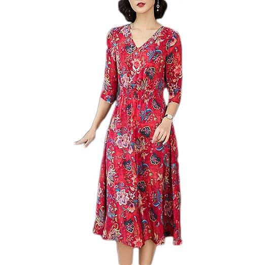 Vestido, Mujer Almacén Falda Floral de Seda de Morera Cuello en V ...