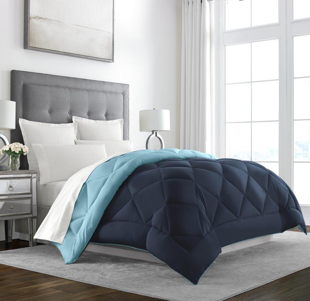 Sleep Restoration Goose Down Alternative Comforter - Reversible - All Season Hotel Quality Luxury Hypoallergenic Comforter - Twin/Twin XL - Aqua/Ivory SR-DMNDRVRSCMFRTR-AQA/IVRY-T