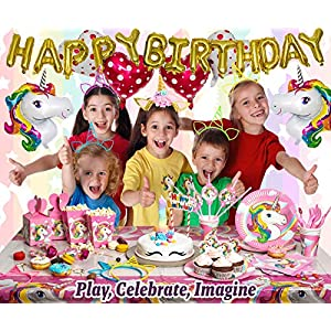 Imagine's Complete Unicorn Party Supplies – 220+ Piece Rainbow Girls Birthday Supplies Pack with Unicorn Balloons, Headbands, Party Favors for Kids, MORE – Magical Unicorn Sleepover Party Set for 15