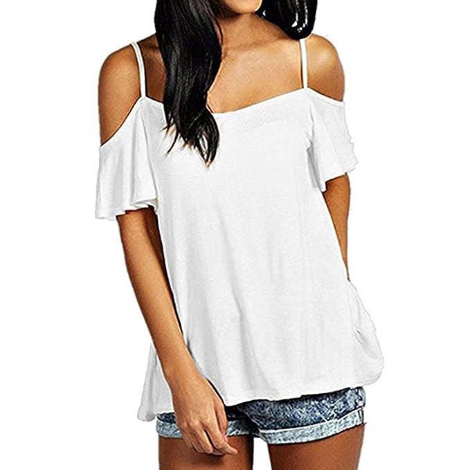 CICIYONER Verano Blusa Hombros Blusa sin Mangas Mujer Camiseta Hombro Descubierto (Blanco, L)