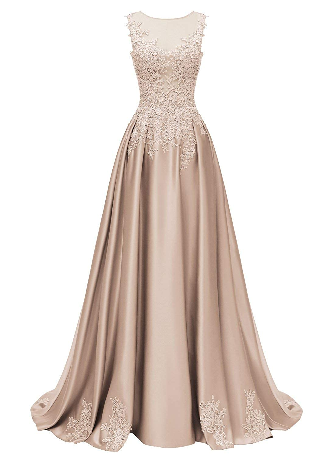Champagne Dressytailor Aline Scoop Long Satin Appliques Beading Prom Dress Formal Evening Gown with Pockets