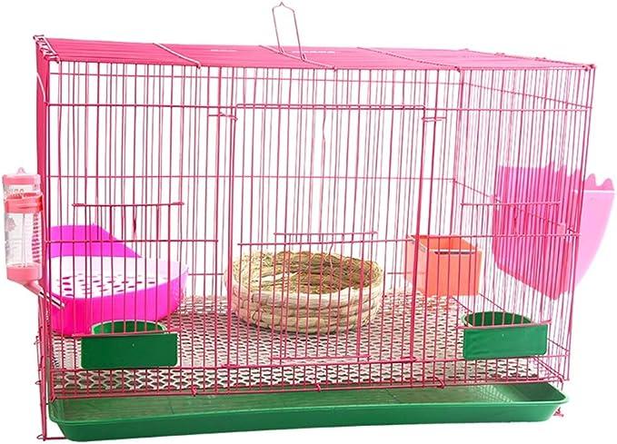 Jaulas Conejera Pollo Y Pato Cría Interior De La Litera del Gato Doméstico Rata Y Flexible Chasis Valla De Seguridad (Color : Pink, Size : 59 * 40 * 42cm)