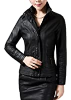 Xfashion Women's Faux PU Leather Slim Short Zip Up Stand Collar Jacket