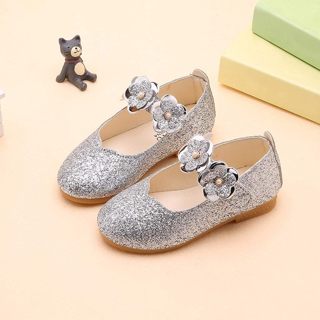 Toddler Infant Kids Baby Girls Flower Bling Sequins Single Princess Casual Shoes