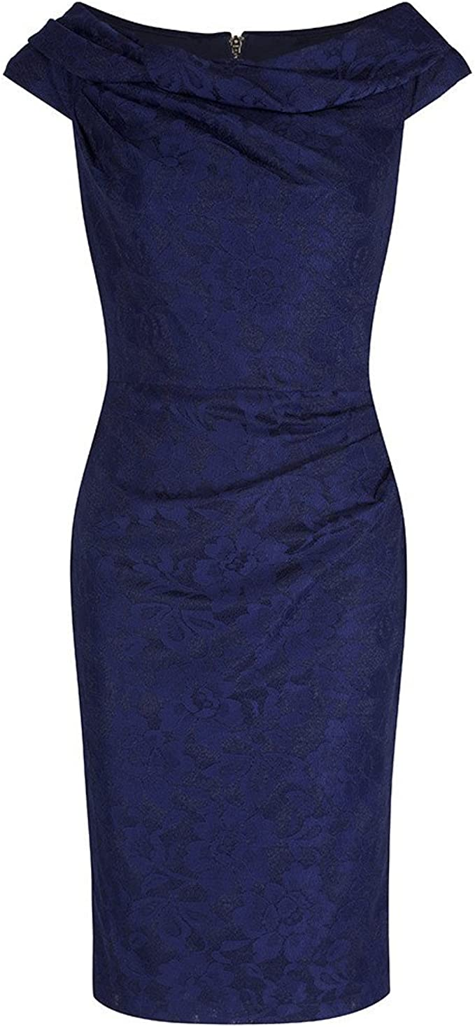 1960s Evening Dresses, Bridesmaids, Mothers Gowns Pretty Kitty Fashion Navy Lace Bardot Wiggle Pencil Dress £49.99 AT vintagedancer.com