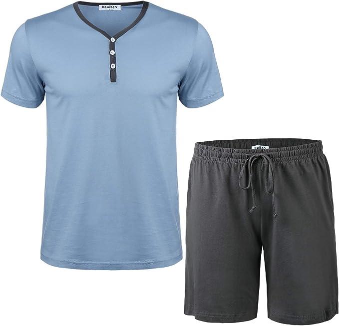 Aibrou Pijamas Hombre Verano Corto de 100% Algodón Conjuntos de Pijamas para Hombre Mangas Cortas: Amazon.es: Ropa y accesorios