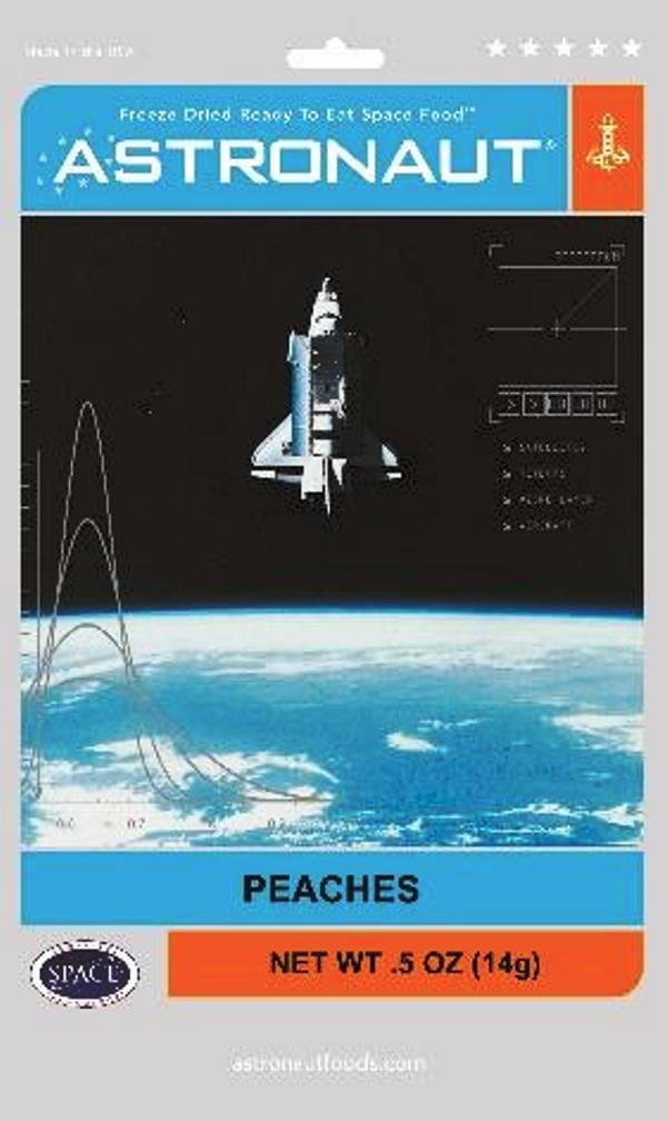 Astronaut Foods Freeze-Dried Space Food Fruit - Peaches - Pack of 4, .5 Ounces Each