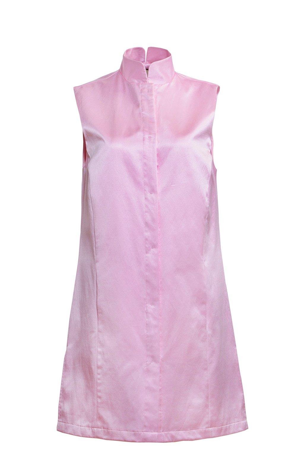 J&E LOHAS Women's Elegant Sleeveless Court Collar Silk Long Vest Pink M