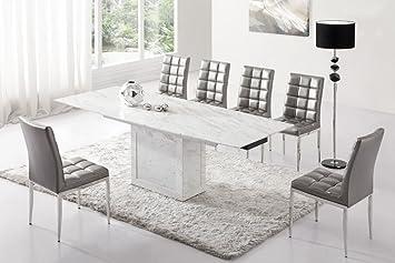 Table de salle à manger extensible Zeus marbre blanc/gris et ...