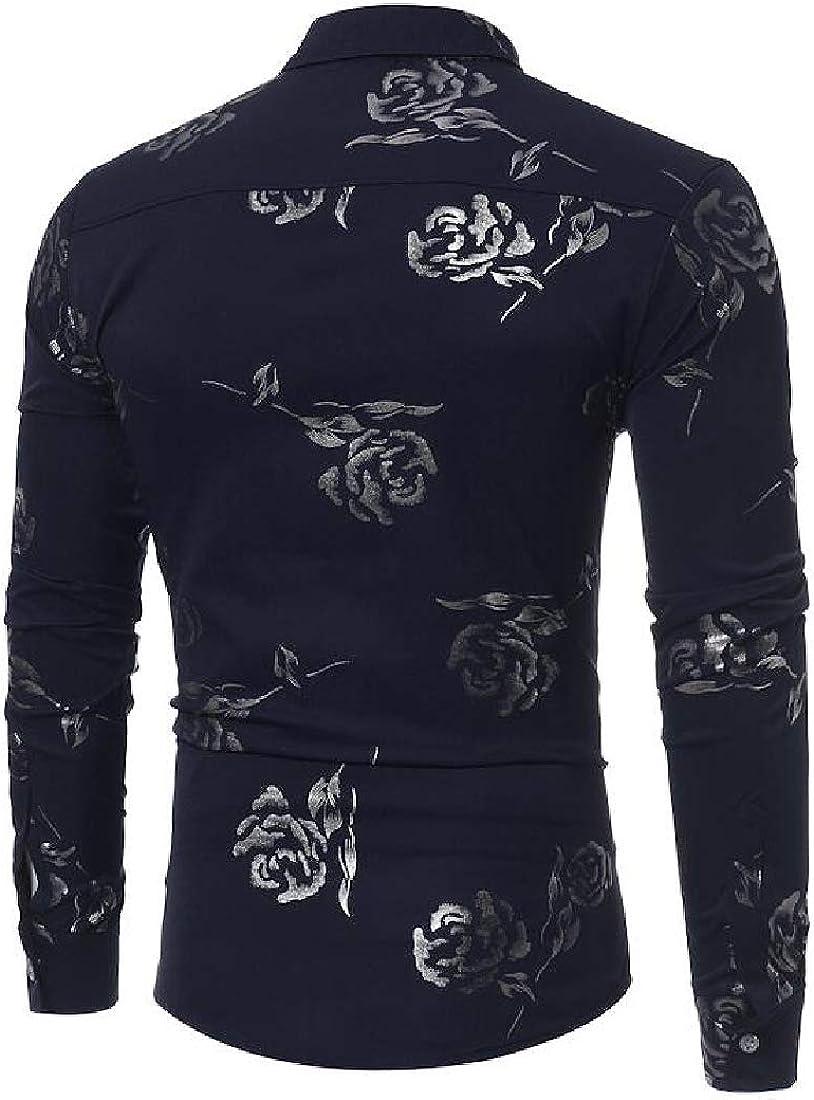 pipigo Mens Embroidery Button Down Long-Sleeve Cotton Printed Top Shirts