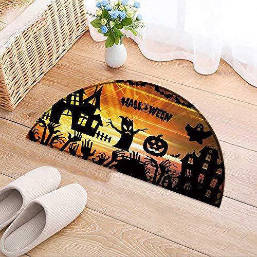 (Carpet Floor mat Bath mat Door mat Ultra high Definition Halloween Water-Absorbing Floor mat Anti-Slip mat W35 x H24)