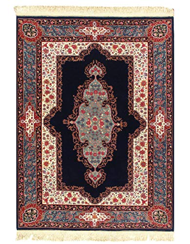 (Pasargad Sino Kerman Design Hand-Knotted Rug - 5′ × 7′ Blue Black ' chaina D10125)