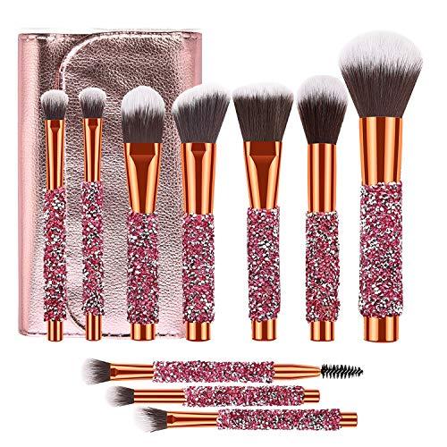 Adpartner 10 PCS Luxury Makeup Brushes Set with Bag, Latest Diamond-studded Kabuki Eye Makeup Brush Professional Foundation Concealer Eyeshadow Makeup Tools