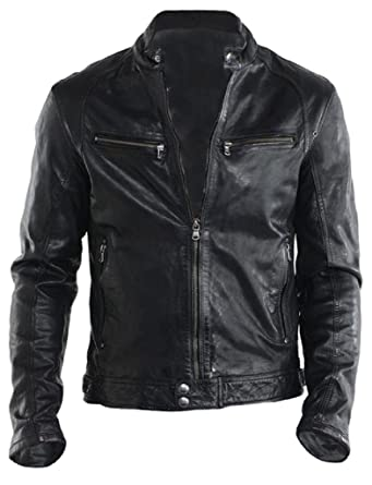 73dddf412 The Leather Factory Men s Genuine Lambskin Leather Biker Jacket ...