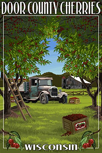 (Door County, Wisconsin - Cherry Harvest (12x18 SIGNED Print Master Art Print w/Certificate of Authenticity - Wall Decor Travel Poster))