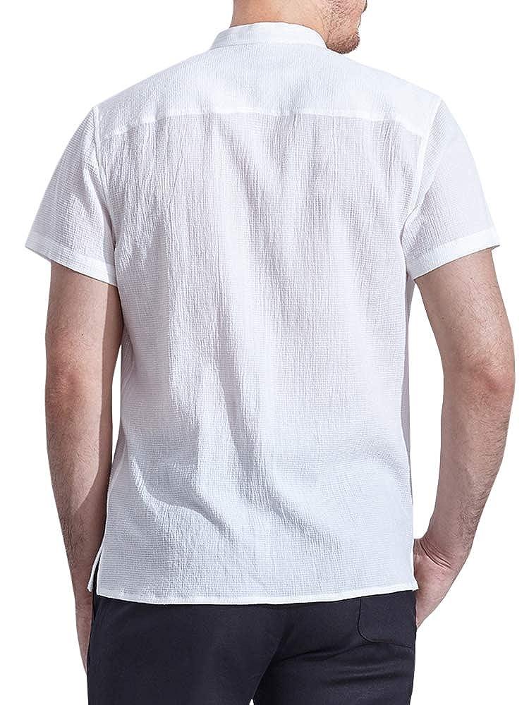 Enjoybuy Mens Summer Linen Shirts Short Sleeve Banded Collar Full Zip Closure Casual Shirts Front Pocket