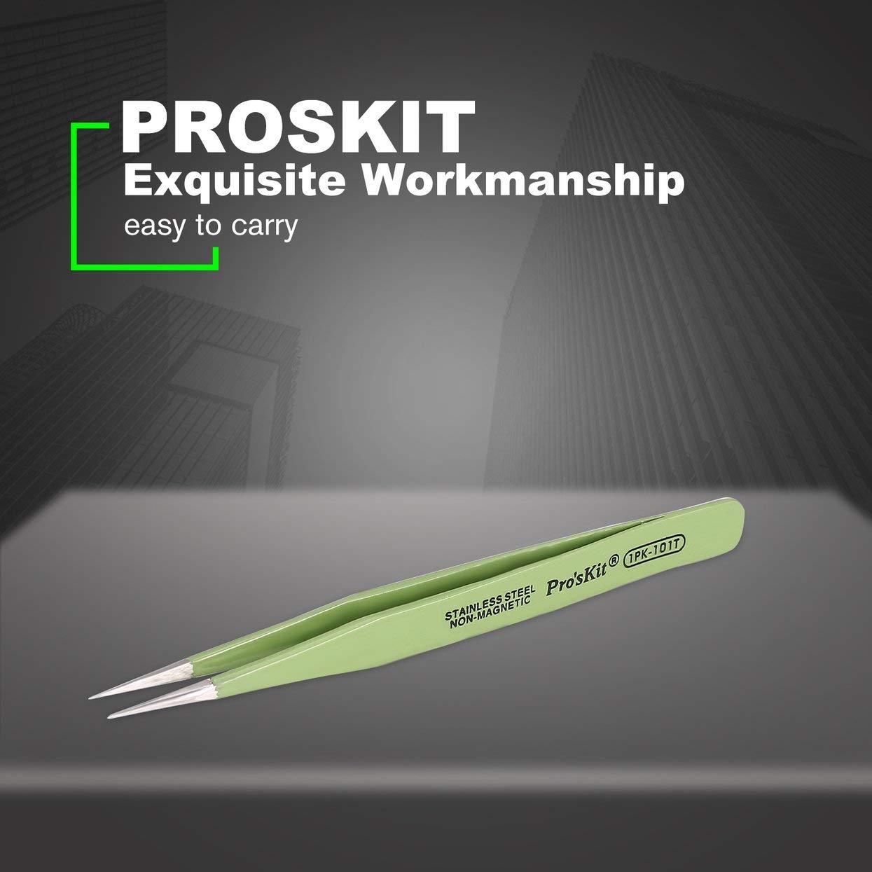 Tree-on-Life Proskit 1PK-101T Pince /à /épiler isol/ée 120mm Pince /à /épiler Arrondie Non magn/étique Anti-Statique