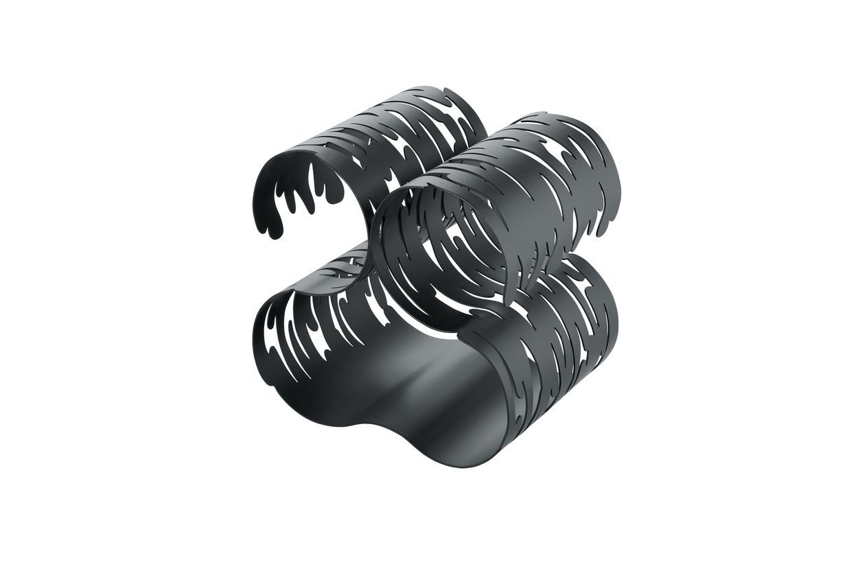 Alessi Barkcellar Wine Bottle Rack in Stainless Steel Colored with Epoxy Resin, Black