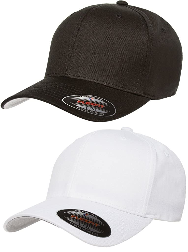 Flexfit 2Pack 1-Black /& 1-White 5001 Cotton Twill 6-Panel Structured Mid-Profile Cap Bundle with No Sweat Hat Liner Small//Medium