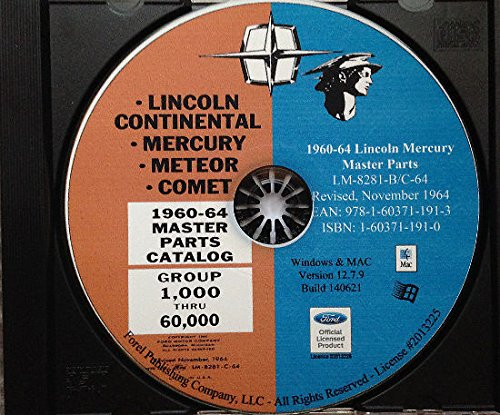 COMPLETE & UNABRIDGED 1960 1961 1962 1963 1964 LINCOLN MERCURY FACTORY MASTER PARTS CATALOG - LIST - MANUAL