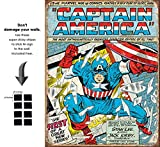 Captain America Comic Cover Marvel Comics Retro Vintage Decor Tin Sign 12.5 in Wx16 in H - With Sticky Stripes . No Damage to Walls