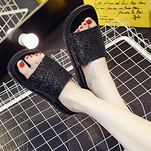 Black Lvyuan Lentejuelas De Ocasional Plataformas Pantuflas La Playa Sandalias Mujeres Verano Zapatos Del Las Manera Comodidad xfBgwqZfp