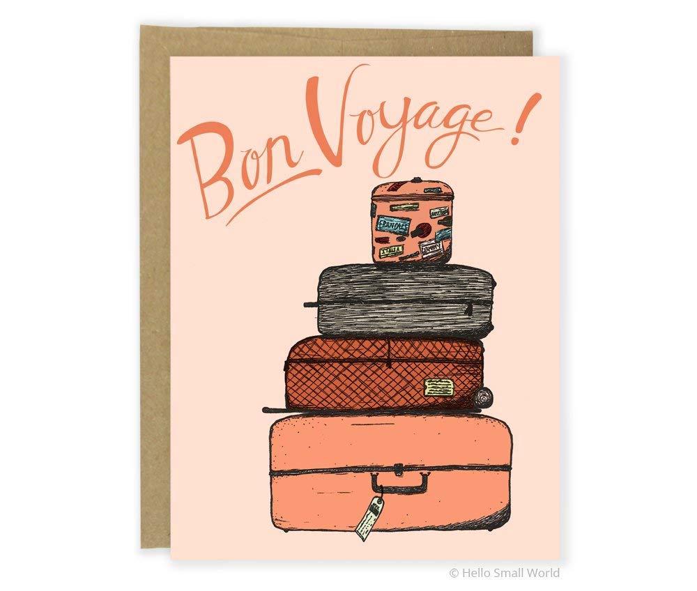 Amazon Com Bon Voyage Luggage Card Sweet Goodbye Card Leaving Card Greeting Card Handmade