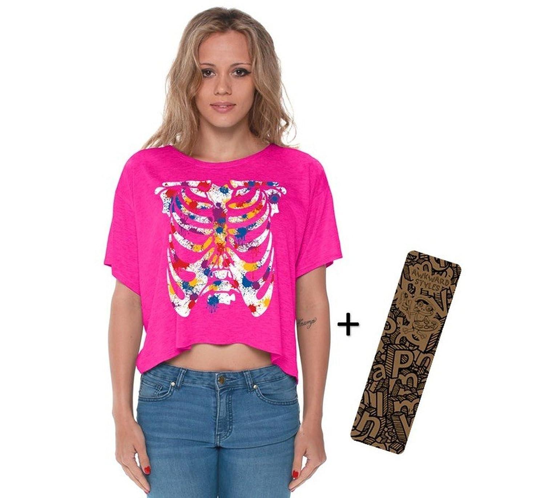 Awkwardstyles Painted Colorful Ribcage Boxy Crewneck Tank Top Shirt + Bookmark