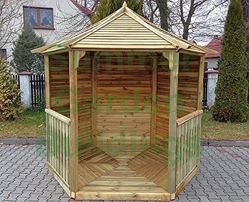 SUMMER GARDEN 8 x 7 edificios HEXAGONAL GAZEBO - tratado presión madera, listones de techo: Amazon.es: Jardín