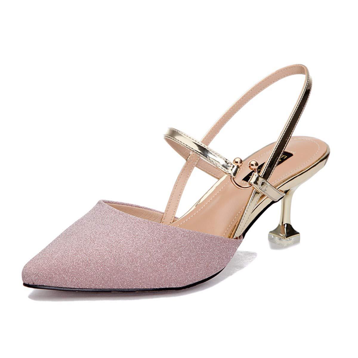 KPHY Damenschuhe/Frische 6 cm Wort Hochhackigen Schuhe Baotou Sandalen Mode Ein Wort cm Mit Knöpfen Pailletten-Schuhe.39 Pink- d9a273