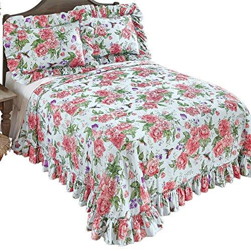 Blue Garden Bedspread - Collections Etc Peony Floral Hummingbird Garden Plisse Ruffled Edge Bedspread, Blue, Twin