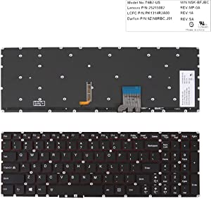 Replacement Keyboard for Lenovo Y50-70 Y70-70 Black (Red Backlit,Win8)