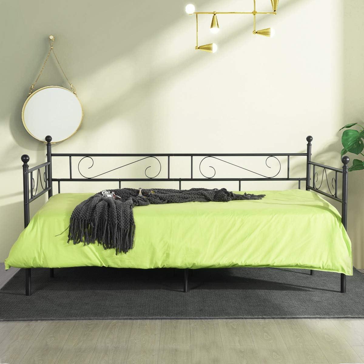 LiePu Sofá Cama Metálica Diván Cama para Dormitorio Salón Cuarto de Invitados,Adecuado para Colchón de 90 * 190 cm,Negro