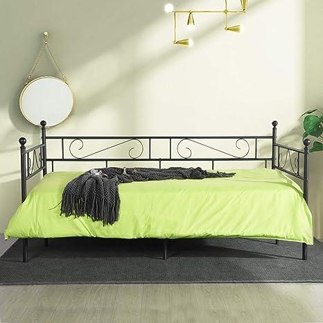 Lattenrost Tagesbett Metallbett 140x200 Sofa weiß schwarz  Bett inkl