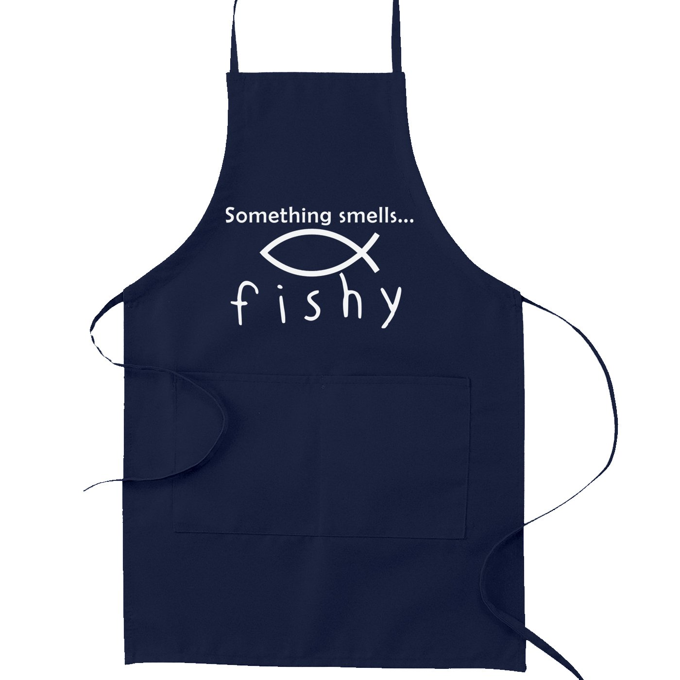 Something Smells Fishy Christian Fish Atheist Funny Canvas Navy Kitchen Apron