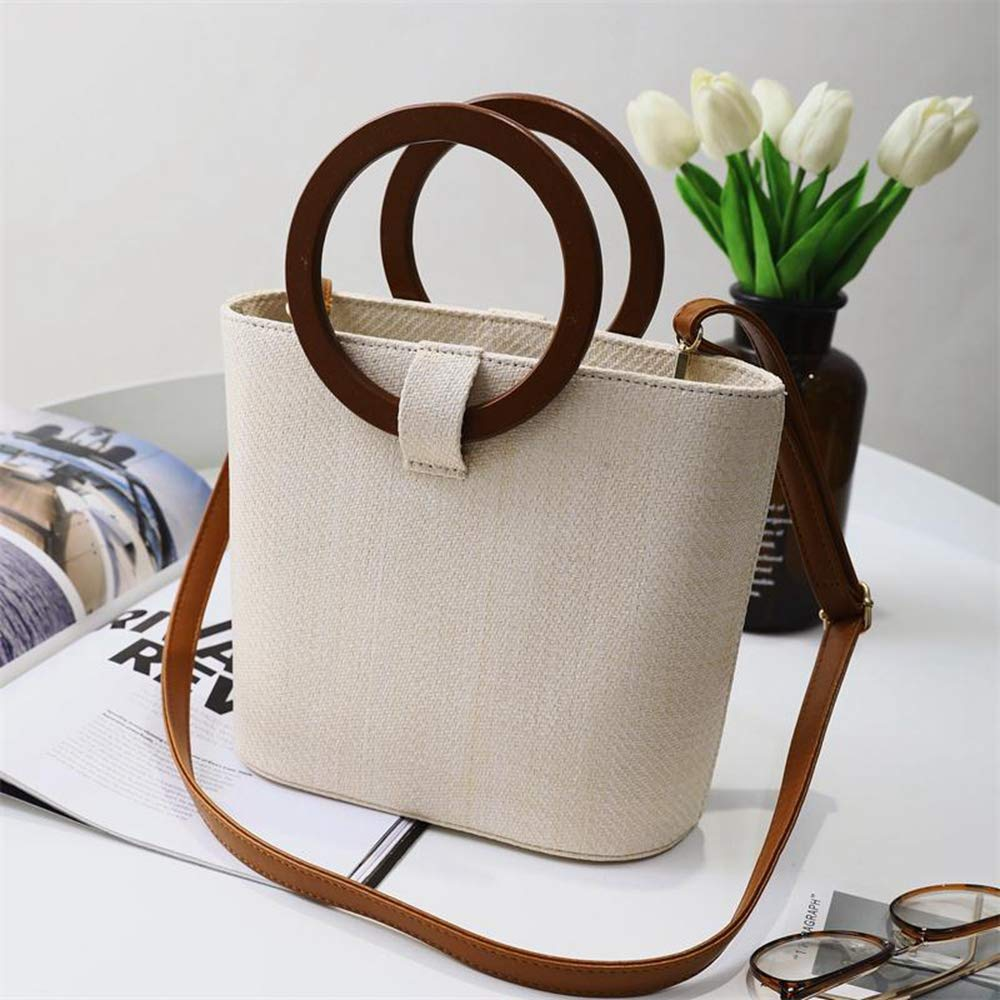 Women's Straw Handbag Wooden Ring Tote Crossbody Shoulder Bag With Leather Strap Summer Travel Holiday Shopping Zipper Bag (Beige)