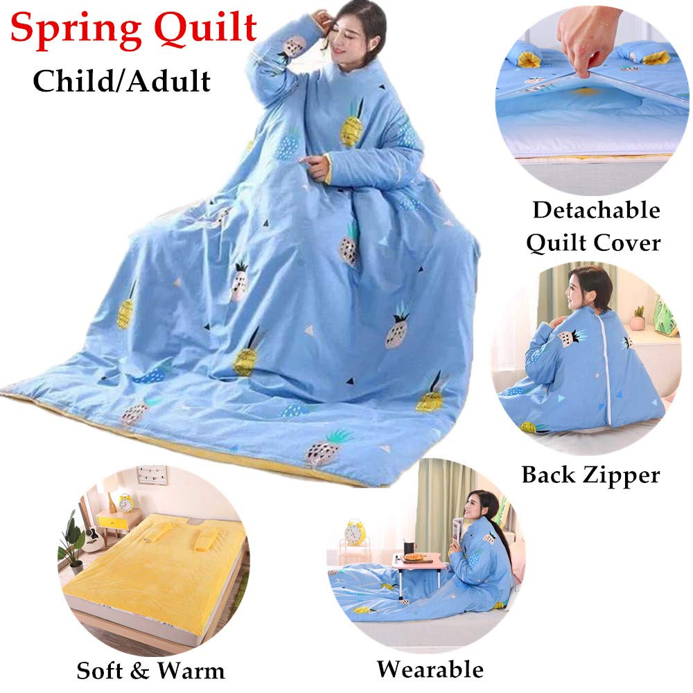 All Season Lazy Quilt Comforter for Summer Spring Sleep on Sofa Wearable Blanket with Sleeve Zip Blanket Detachable Quilt Bed Comforter Blue