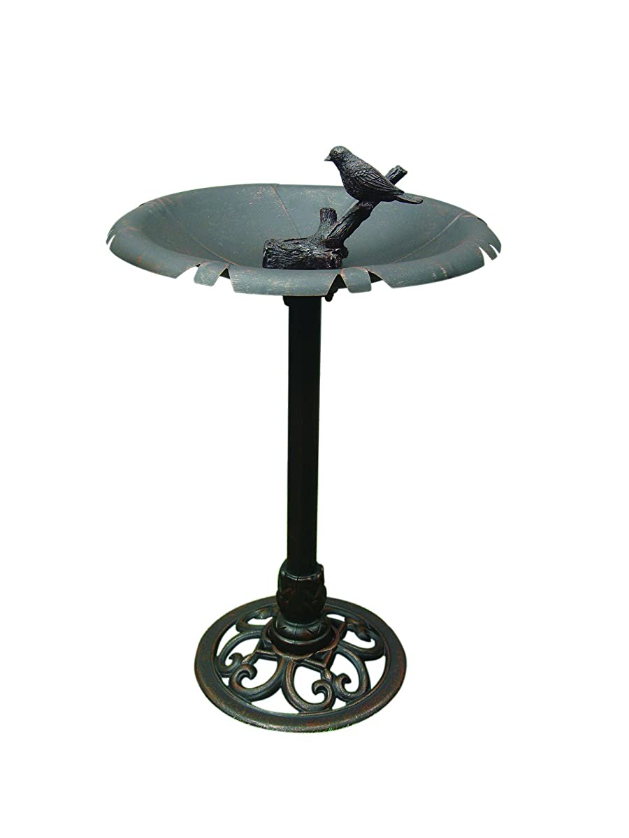 "Terra Verde Home FDBB1502 Bird Bath with Bird Accent, 20"" x 28"", Bronze"