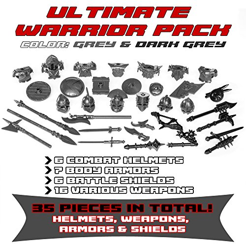 Ultimate Warrior Pack Weapon 35 Pcs: Helmets, Armors, Shields, Swords, Maces, War Hammer, Spears, Halberd and more weapons for Custom Toy Bricks Minifigures (Gray) - Spartan Armor Weapons